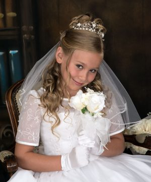 1st Communion Tiara Crown with Clustered Pearls