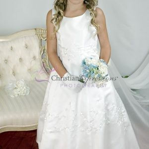 A Line Irish Communion Dresses with Shamrocks