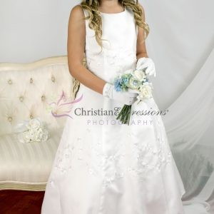 A Line Irish First Communion Dresses with Shamrocks