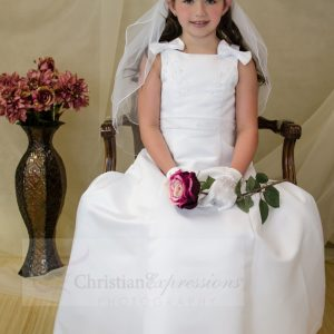 A Line Satin Communion Dresses with Bows