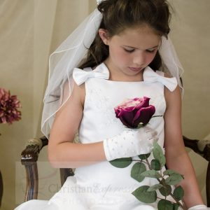 A Line Satin First Communion Dress with Bows