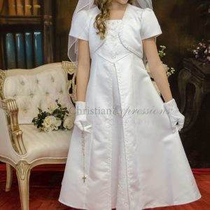 A-line beaded first communion dress
