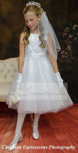 Beaded Lace Bodice First Communion Dresses