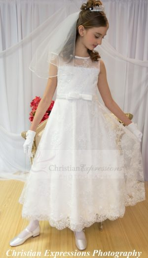 Beaded Satin First Communion Dress with Lace Overlay Size 10