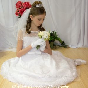 Beaded Satin First Communion Dress with Lace Overlay Size 6