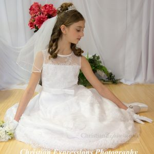 Beaded Satin First Communion Dress with Lace Overlay Size 7