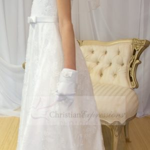 Beaded Satin First Communion Dress with Lace Overlay Size 8