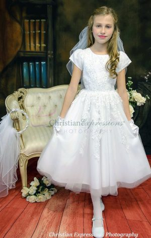 Beaded Tulle First Communion Dress