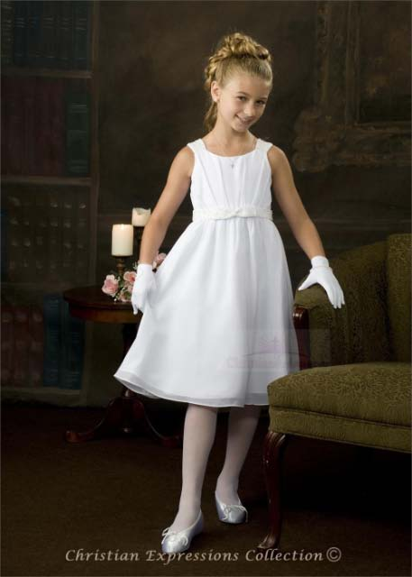 Chiffon First Communion Dress Pearl Waist