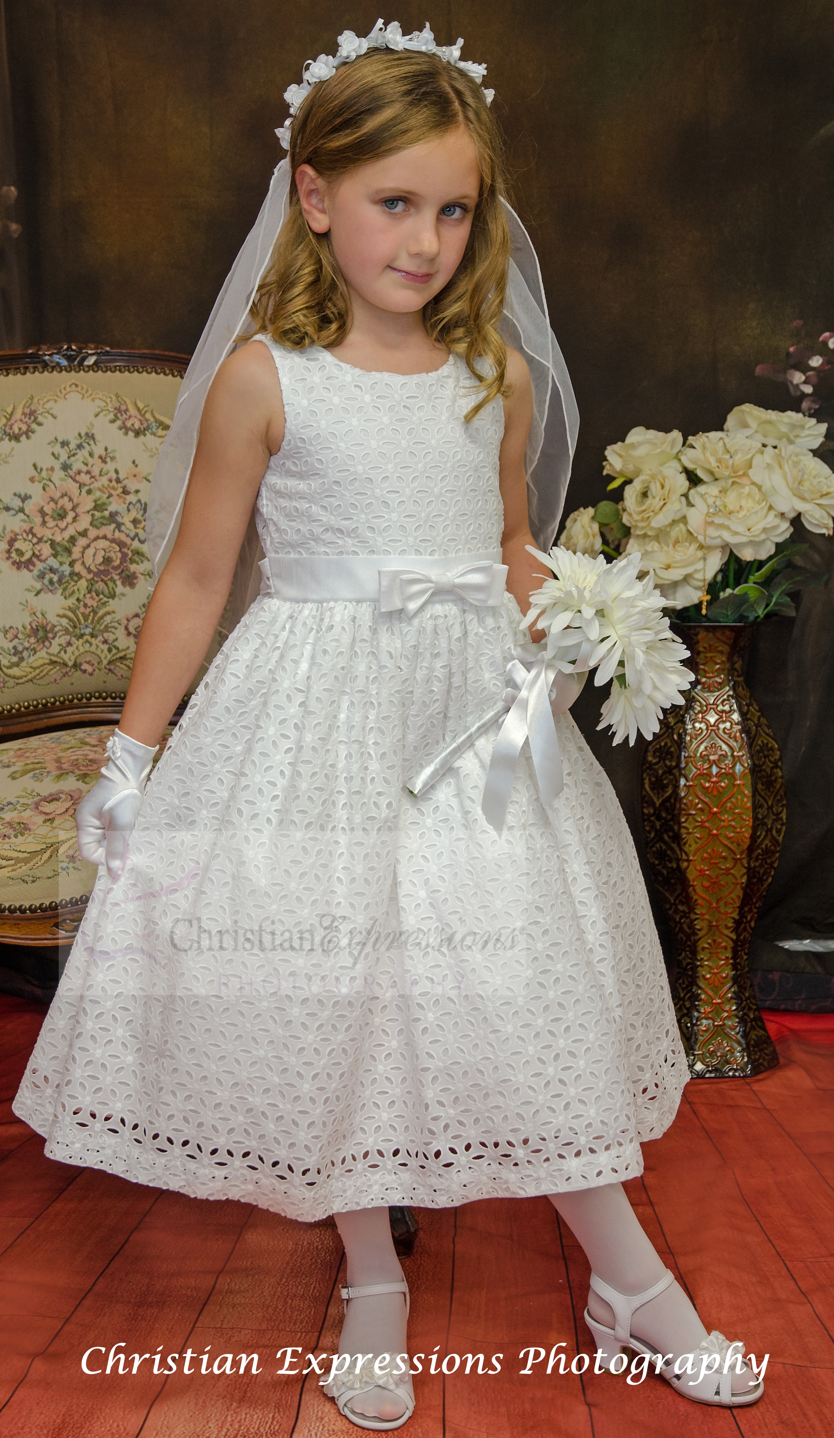 Sleeveless Embroidered Cotton First  munion Dress With Bow Accent On Waist on flower crown headband