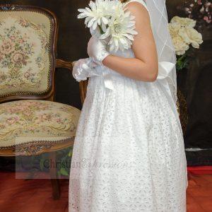 Cotton First Communion Dresses Tea Length