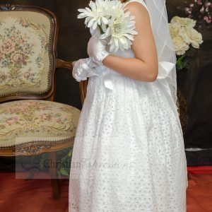 Cotton First Communion Dresses Tea Length