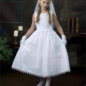 Cotton First Holy Communion Dress with Flowers