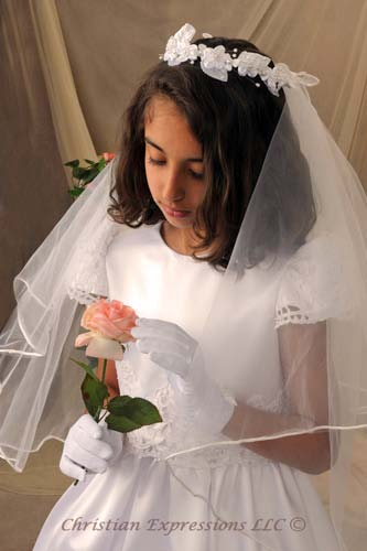 Courtney First Communion Wreath Veil with Rosettes