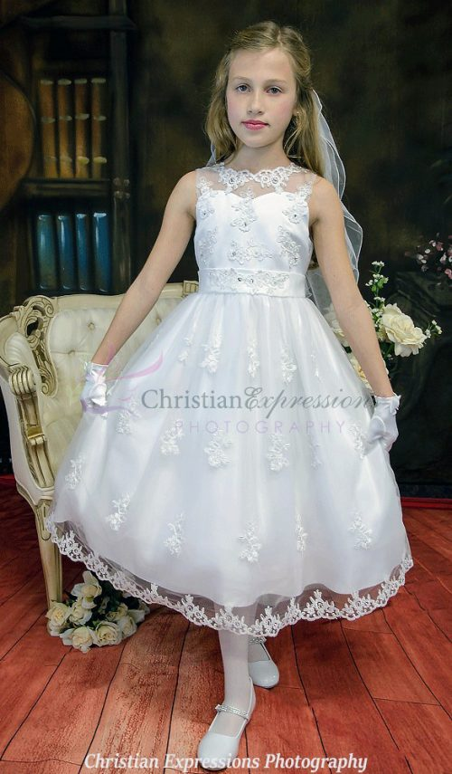 first communion dress with sheer neckline