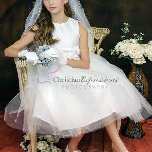White Satin First Communion Dresses On Sale