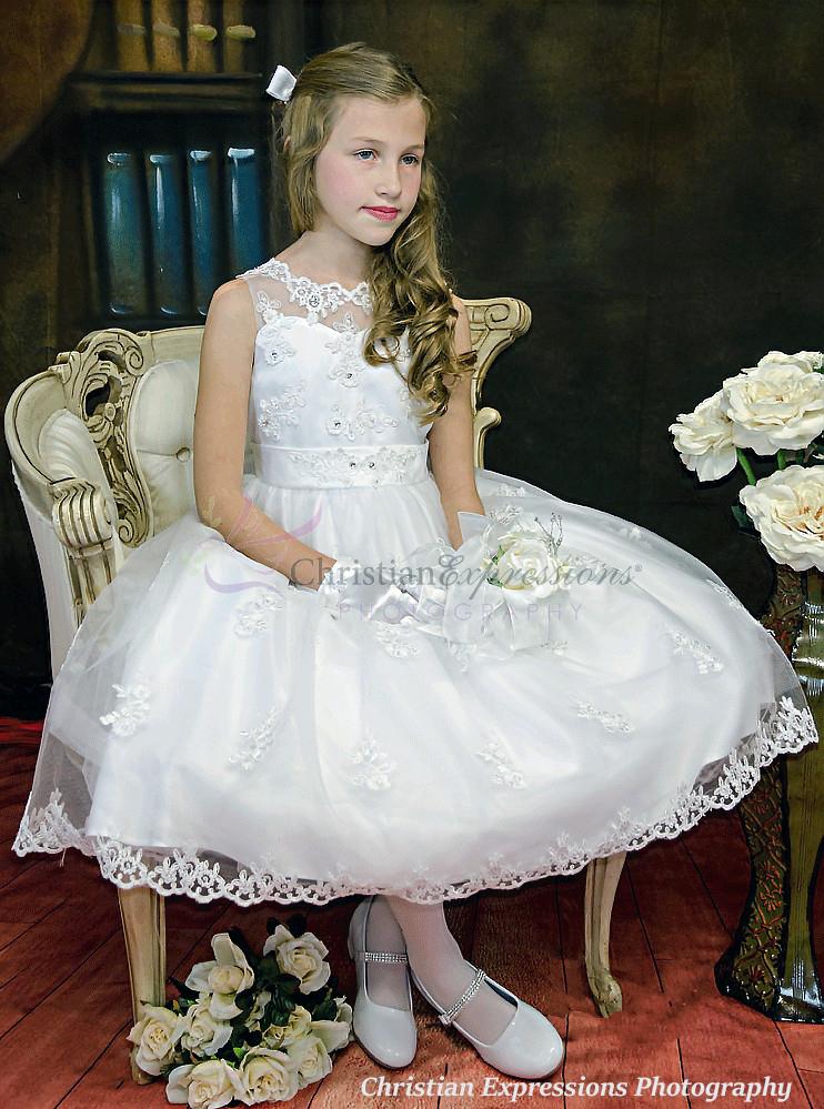 Organza Overlay Skirt With Rhinestone Crystals Communion Dress