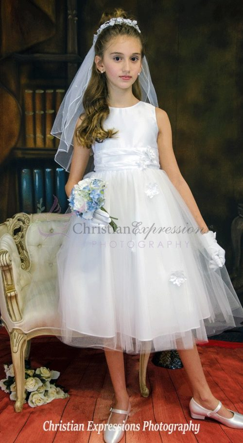first communion dress tulle with roses