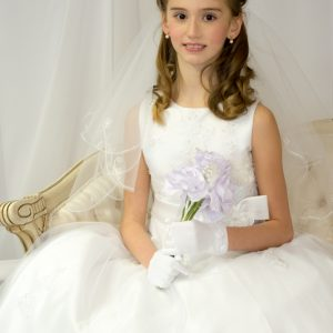Girls First Communion Dresses Pearl Beaded Organza Size 10