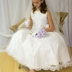 Girls First Holy Communion Dress Pearl Beaded Organza Size 6