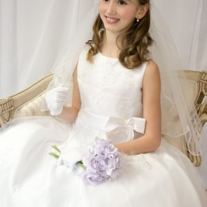 Girls First Holy Communion Dress Pearl Beaded Organza Size 7