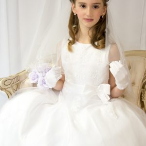 Girls First Holy Communion Dress Pearl Beaded Organza Size 8