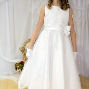 Girls First Holy Communion Dress Pearl Beaded Organza Size 10