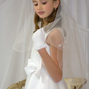 Long White First Holy Communion Veils with Embroidered Scallop edge for Girls