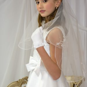 Long White First Communion Veils with Embroidered Scallop edge for Girls
