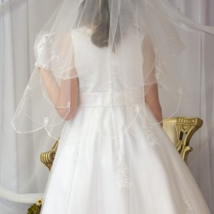 Long White First Communion Veils with Embroidered Scallop edge