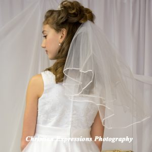 White First Communion Veils Two Tier
