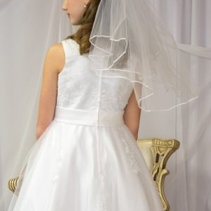 Girls First Communion Dress Pearl Beading on Organza Size 10