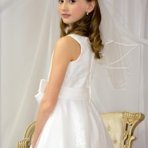 Girls First Holy Communion Dresses Pearl Beading on Organza Size 8