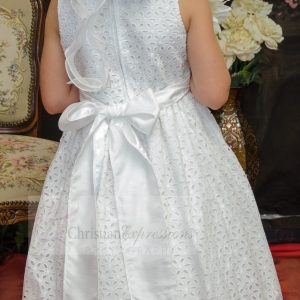 Designer Cotton First Communion Dress Tea Length