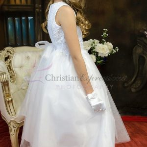 Designer First Communion Dress with Crochet Bodice