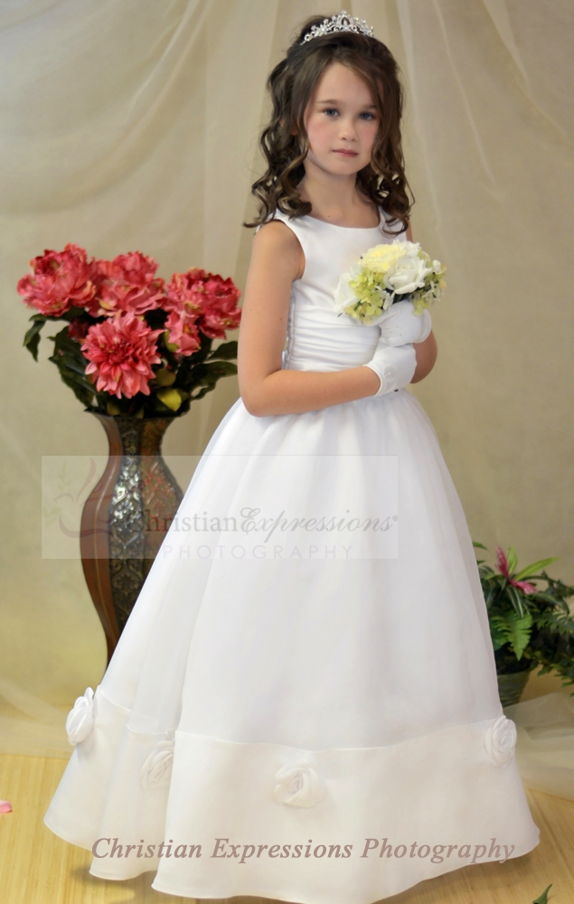 Satin First Communion Dress With Roses