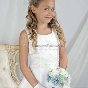 Embroidered Shamrocks First Communion Dresses for Girls