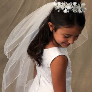 First Communion Bun Wrap Veil with Organza Bugle Beads adn pearls