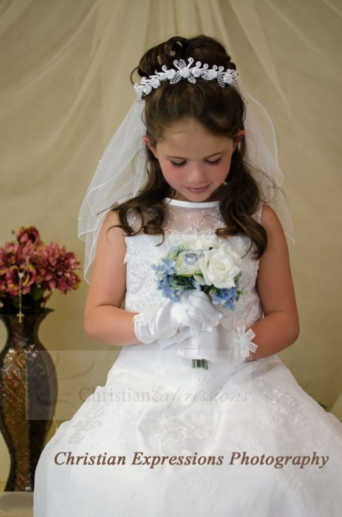 First Communion Bun Wrap Wreath Veils