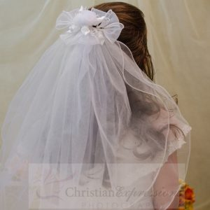 First Communion Clip Veil Organza and Satin Bows and Rosebuds