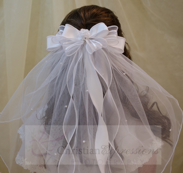 First Communion Clip Veil Satin Organza Bows and Rosette