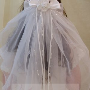 First Communion Clip Veil with Satin and Organza Bows and Large Rosette
