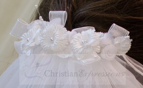 First Communion Comb Veil with Satin and Organza Flowers and Rosebuds
