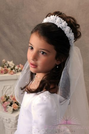 First Communion Crown Headpiece Veil with Organza Rosebuds and Pearls