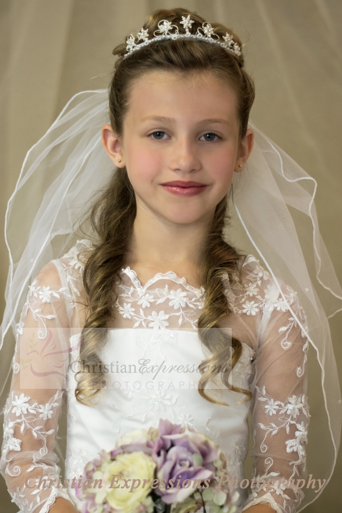 First Communion Crown Tiara with Pearl Flowers