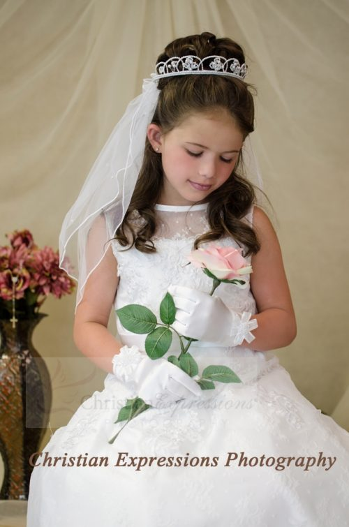 First Communion Crown Veil- V840