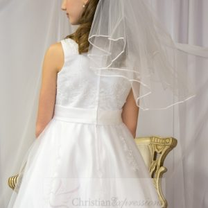 First Communion Dress Pearl Beading on Organza Size 10