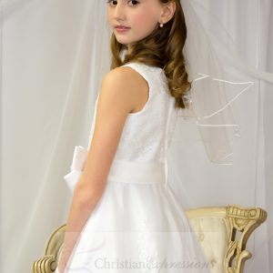 First Communion Dress Pearl Beading on Organza Size 6