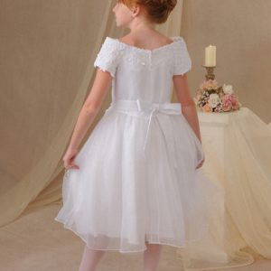 First Communion Dresses with Off the Shoulder Sleeves and Beading