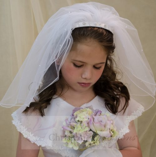 First Communion Headband Veil with Braided Design Pearl Accents